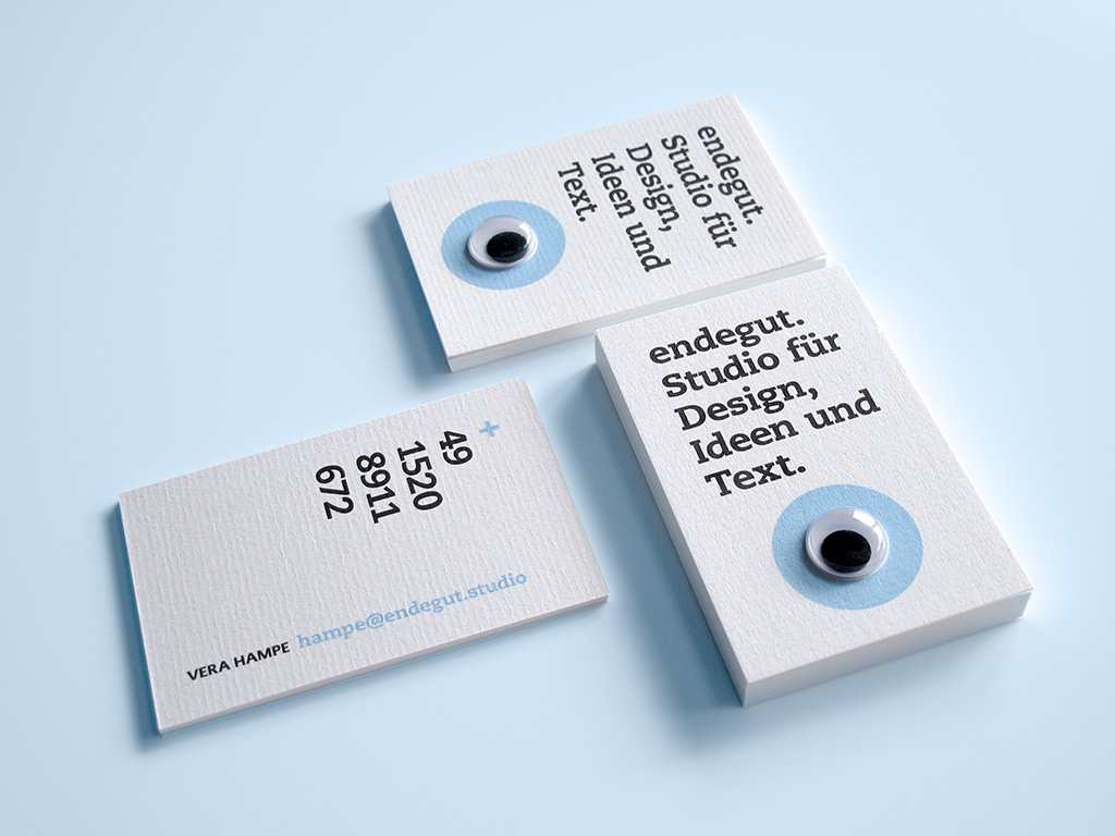 Die Visitenkarten von Endegut: Studio für Design, Ideen und Text