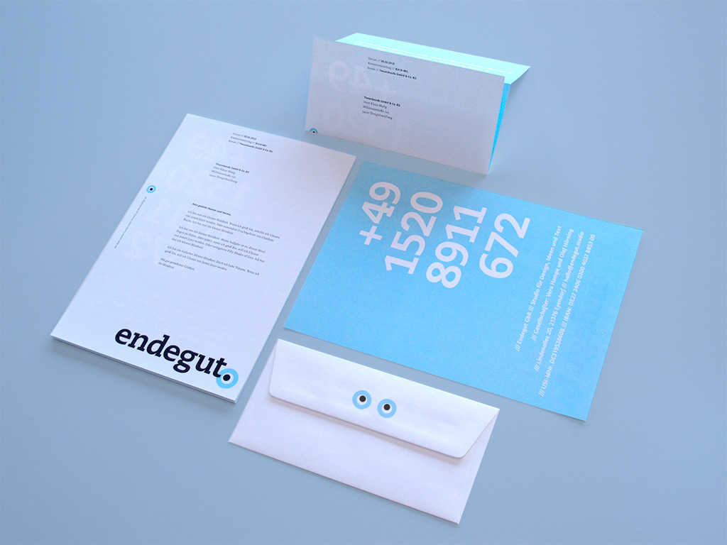 Das Briefpapier von Endegut: Studio für Design, Ideen und Text