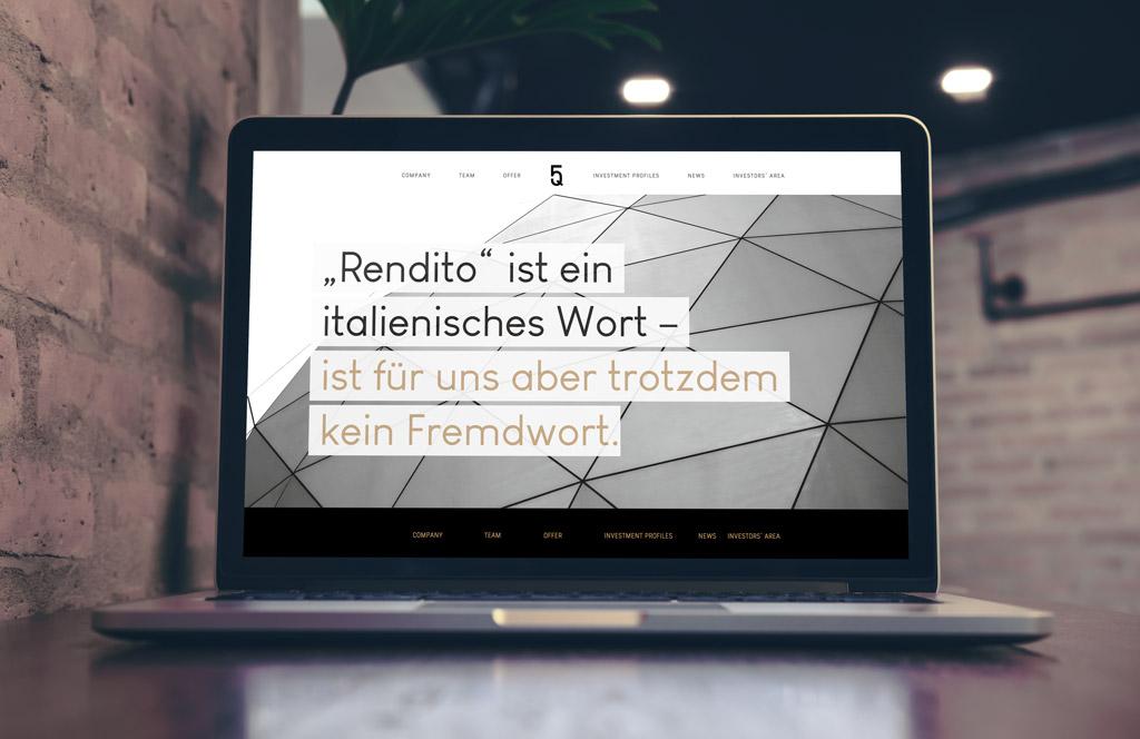 """Headline von der Website von Five Quarters Real Estate: """"Rendito ist ein italienisches Wort – ist für uns aber trotzdem kein Fremdwort."""""""