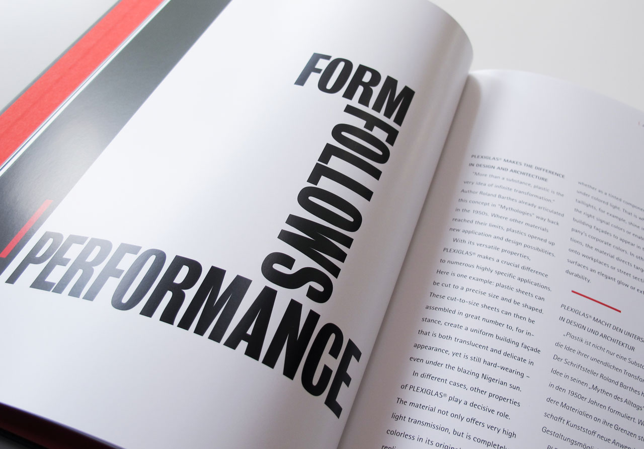 "The Book of Possibilities – Inspiring Design with PLEXIGLAS®: Kapiteltitelseite ""Form follows Performance"""