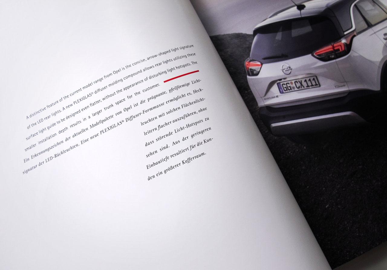 The Book of Possibilities – Inspiring Design with PLEXIGLAS®: Doppelseite über Rückleuchten von Opel