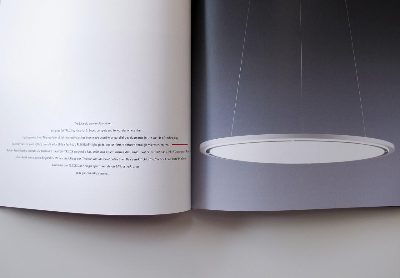 The Book of Possibilities – Inspiring Design with PLEXIGLAS®: Doppelseite über Leuchten von TRILUX