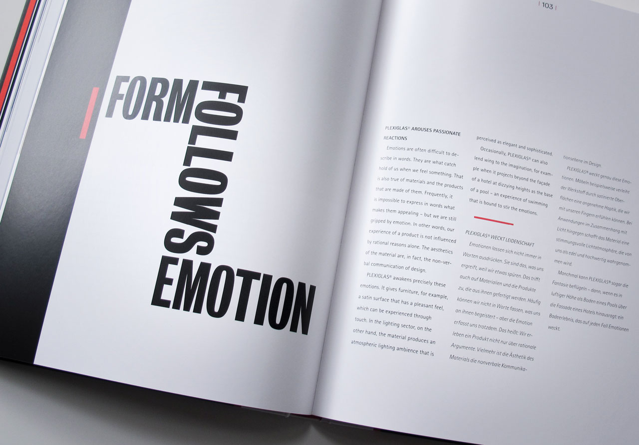 "The Book of Possibilities – Inspiring Design with PLEXIGLAS®: Kapiteltitelseite ""Form follows Emotion"""