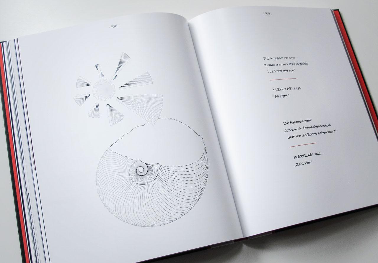The Book of Possibilities – Inspiring Design with PLEXIGLAS®: Doppelseite mit der Illustration einer Sonne
