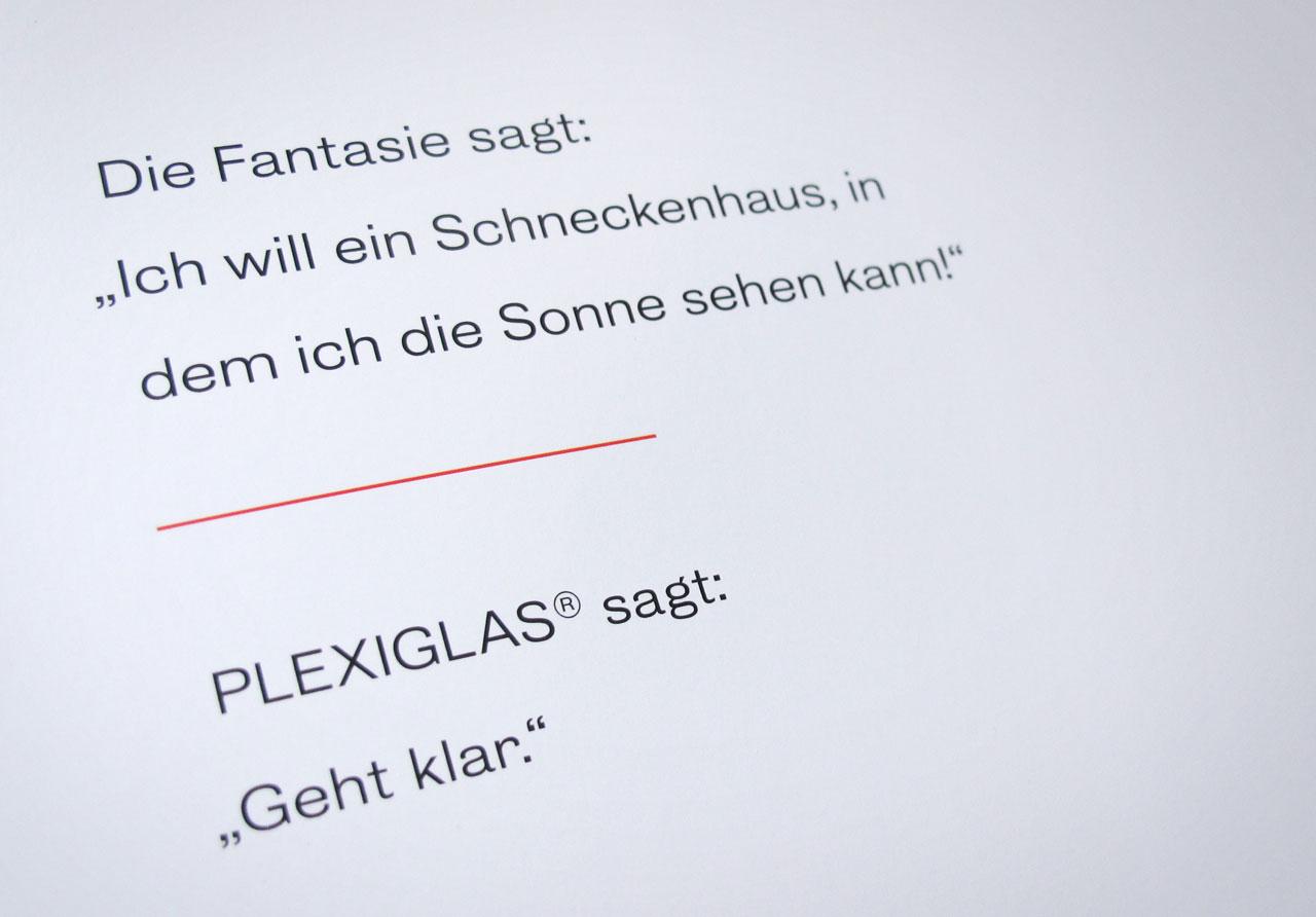 The Book of Possibilities – Inspiring Design with PLEXIGLAS®: Innenseite mit Typografie