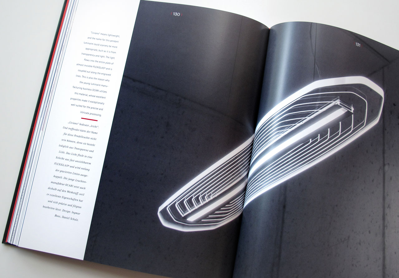 The Book of Possibilities – Inspiring Design with PLEXIGLAS®: Doppelseite über Lampen von OCARI