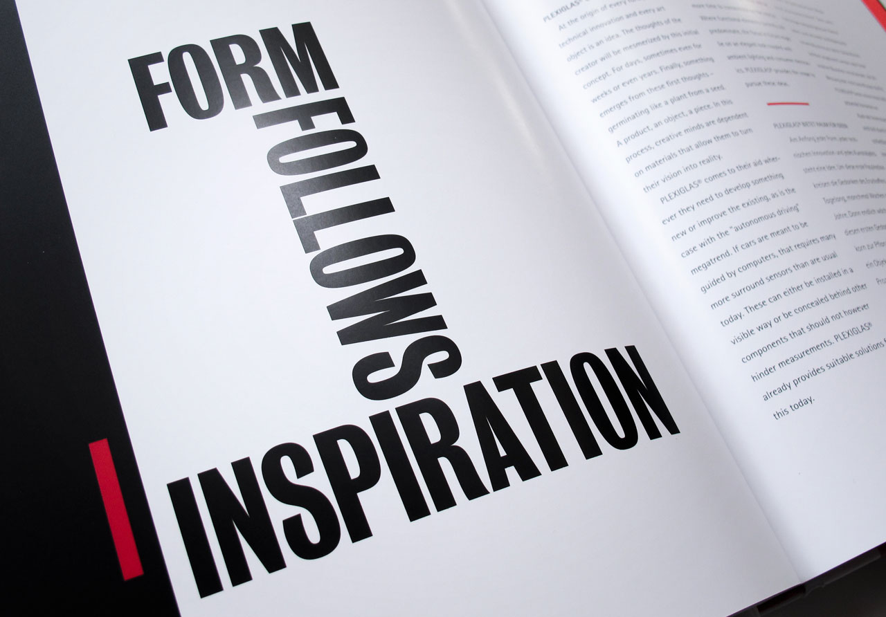 "The Book of Possibilities – Inspiring Design with PLEXIGLAS®: Kapiteltitelseite ""Form follows Inspiration"""