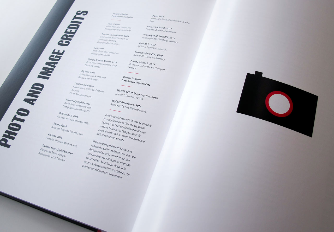 The Book of Possibilities – Inspiring Design with PLEXIGLAS®: Doppelseite mit den Photo-Credits
