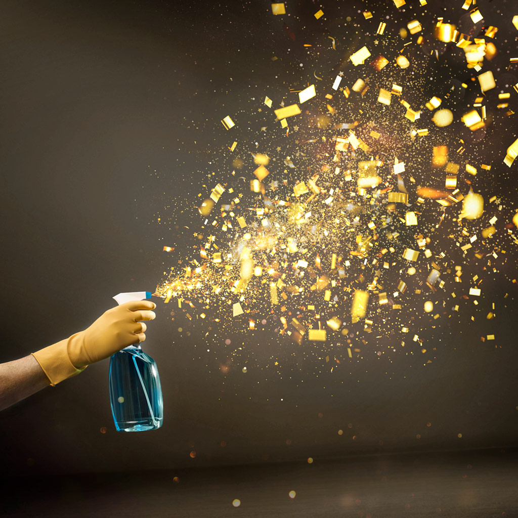 Illustration einer Sprühflasche, aus der kein Sprühnebel kommt, sondern goldenes Konfetti