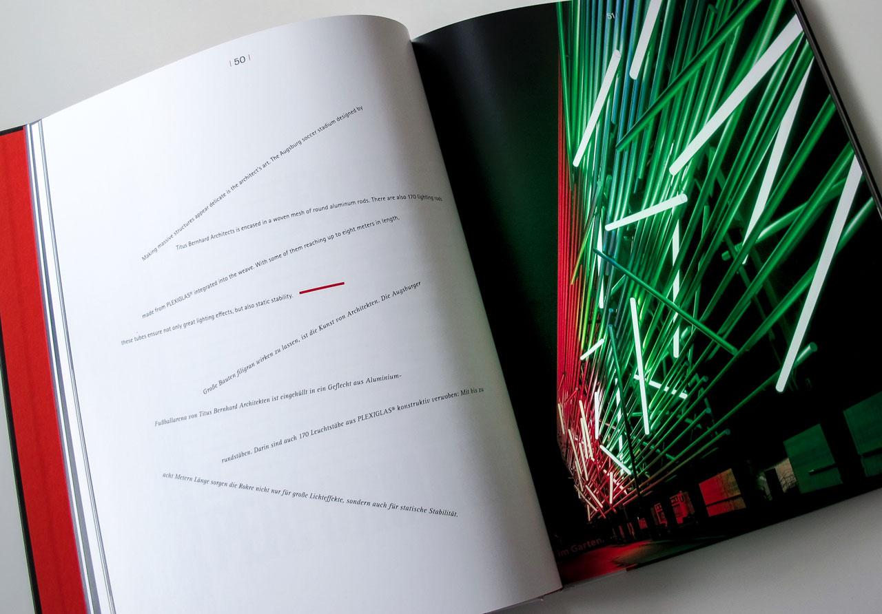 The Book of Possibilities – Inspiring Design with PLEXIGLAS®: Doppelseite über die Fußballarena in Augsburg