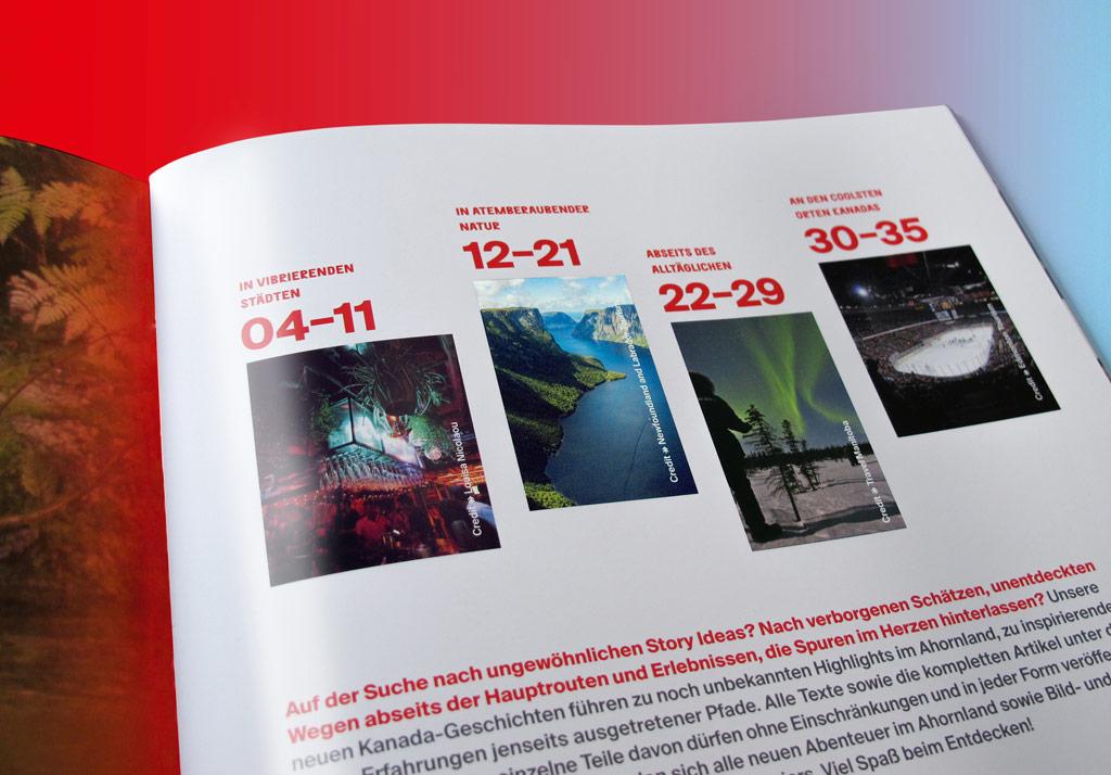 Pressebroschüre für Destination Canada: Inhaltsverzeichnis