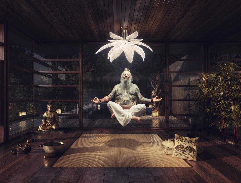 Ein Yogi schwebt meditierend unter einer Lampe aus PLEXIGLAS®